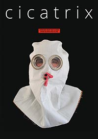 Cicatrix poster featuring a mannequin wearing a gas mask