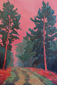 Woodland path painting by Claire Cansick of the Arborealists