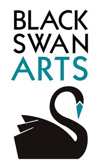 Black Swan Arts logo featuring a black swan with a teal beak