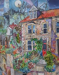 Mixed media piece by Amy Yates featuring a terraced house