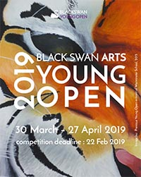 Young Open 2019 poster featuring work by a previous entrant with a tiger face