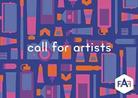 Call to artists advert for Frome Art Fair, featuring an abstract image and the Frome Art Fair logo (FAF)