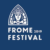 Frome festival logo on a navy blackground with an image in white of the emblem featuring St Aldhelm