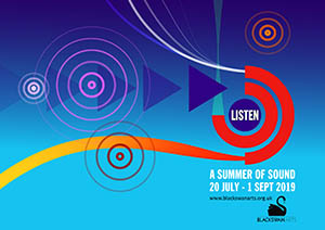 Listen logo featuring colourful shapes which represent sound waves and the