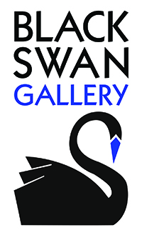 Black Swan logo, gallery variation. Black swan with blue beak