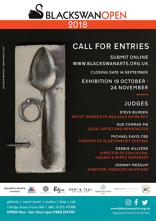 Call to artists flyer advertising Black Swan Arts Open 2018