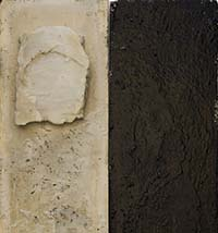 mixed media artwork by eleanor barlett where one side is near black and the other ivory with a textured surface