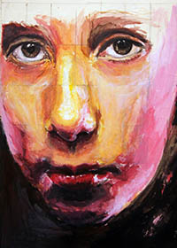 portrait with heightened colours and face close to the surface