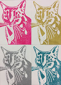 Four cat prints, each in monotone. Clockwise, pink, yellow, blue and grey.