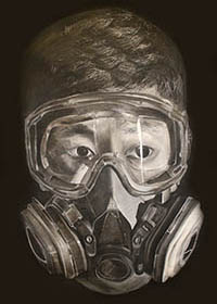 Drawing of a young man wearing a gas mask
