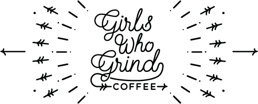 Girls who grind coffee logo. Black and white radial pattern