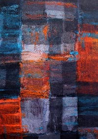Textile work featuring large patches of colour. Blues, greys, reds and orange.