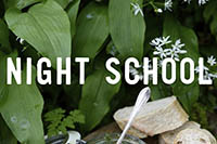 Hostas, wild garlic, bread and a silver spoon. Words over the top read 'night school'