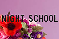 Flowers and sparkly pom poms in front of a mauve background. Words over the top read 'night school'