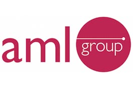 aml group logo- red text on white background