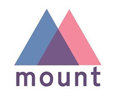 Mount logo with blue and pink triangles overlapping. Mount is written in the same colour created by the overlapping triangles.
