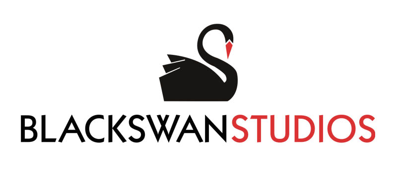 Black Swan Arts studio logo. The swan's beak is red and so is the word studio. The rest of the swan and the text is black