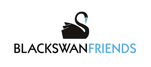 black swan friends logo showing the black swan with a blue beak and the words, black swan guild