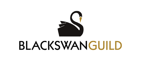 black swan guild logo showing the black swan with a gold beak and the words, black swan guild