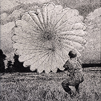 Etching showing a soldier with a parachute which is inflated by the wind.