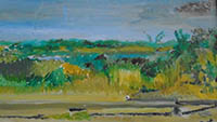 Painting of a sunny somerset path with water in the background. Vivid yellows and greens.