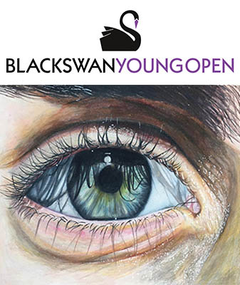 Eye painting above the black swan arts young open logo.