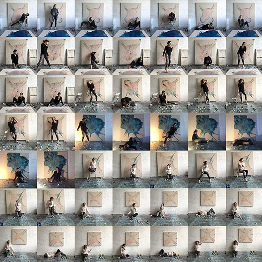 49 small photographs of an artist creating artwork assembled in rows of 7