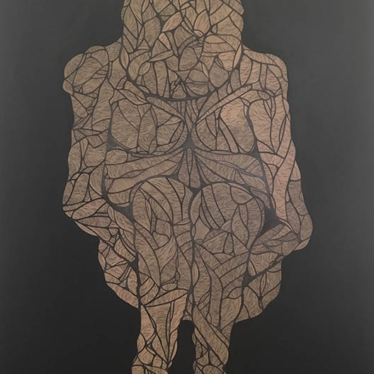 painting of a figure crouched down and made from twisted branches