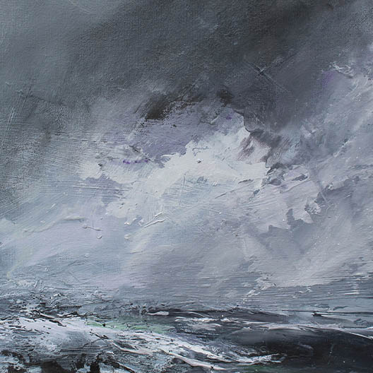 textured oil painting showing a stormy seascape