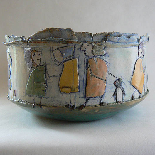 ceramic bowl with hooded figures and a penguin