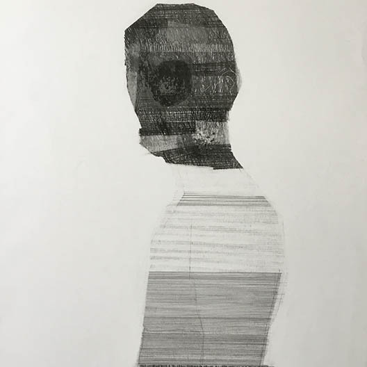 textured linear line drawing of a figure from the side