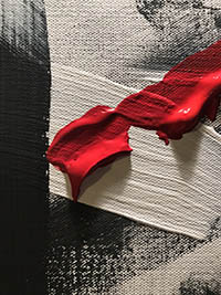 Thick paint on canvas, red on top of white and black streaks. Abstract and textured lines.