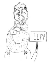 A drawing of a man wearing a chicken hat and holding a sign saying 'help'.