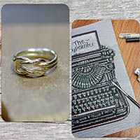 A ring and and ink drawing, samples of work created by the workshop tutors.