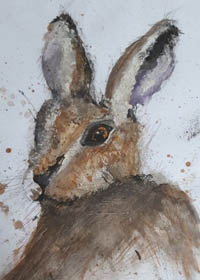 Watercolour painting of a hare