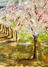 Painting of an orchard with the trees casting shadows