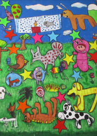 Brightly coloured drawing of animals