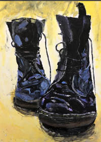 Painting of Dr Martens boots