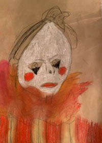 Drawing of a sad clown