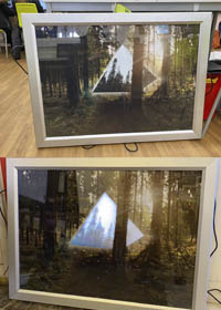 Two photographs showing a pyramid in the woods, reflecting the trees around it