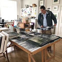 David Parfitt working in his studio.