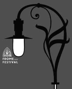 Frome Open Art Trail logo featuring a cockey lamp.
